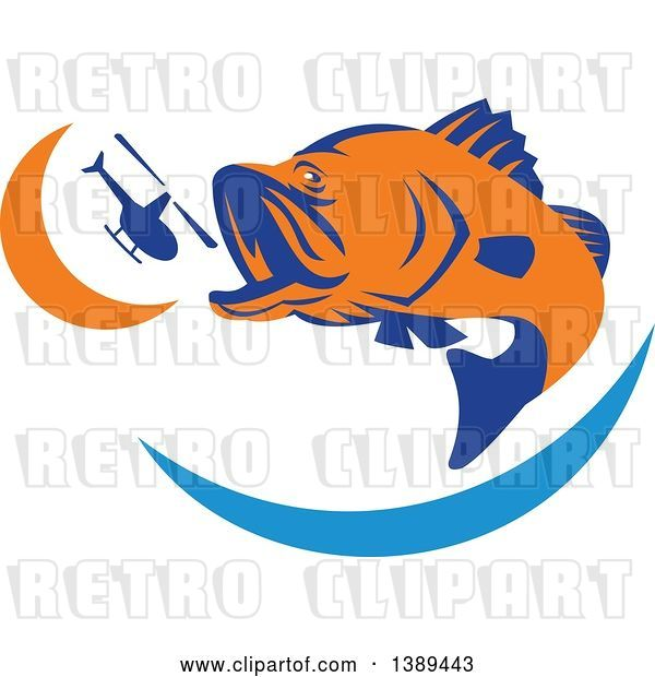 Vector Clip Art of Retro Orange and Blue Barramundi Asian Sea Bass Fish Jumping and Swallowing a Helicopter