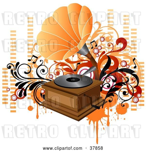 Vector Clip Art of Retro Orange and Wooden Phonograph Playing Music, with Orange and Red Vines, Circles and Equalizer Bars
