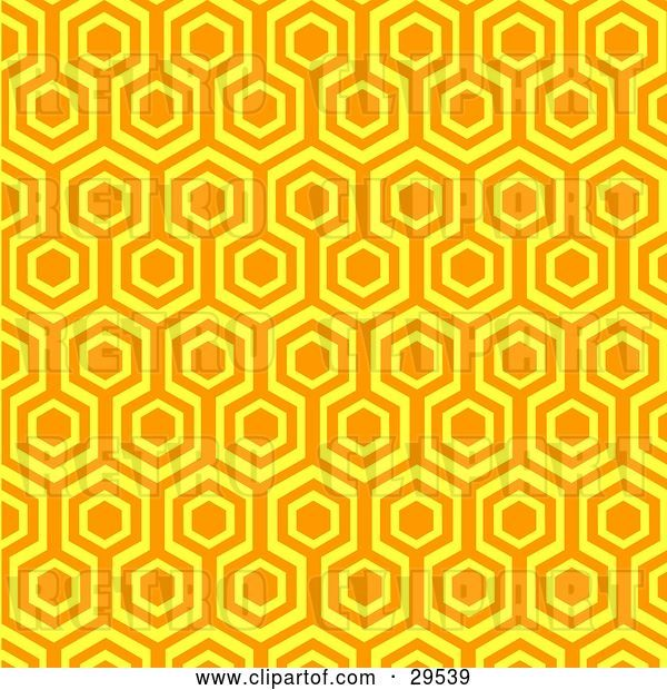 Vector Clip Art of Retro Orange and Yellow Repeat Pattern Wallpaper Background