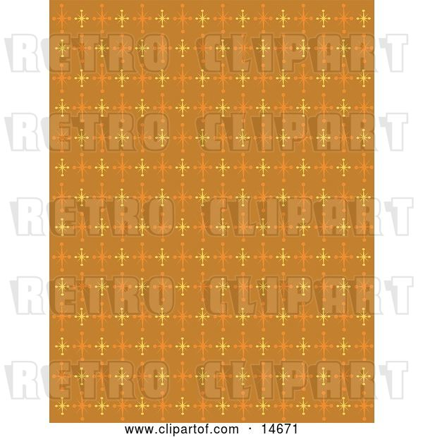 Vector Clip Art of Retro Orange Background with Colorful Stars Clipart Illustration