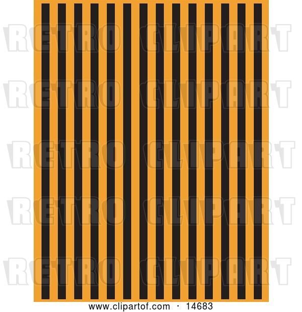 Vector Clip Art of Retro Orange Background with Vertical Black Stripes Clipart Illustration