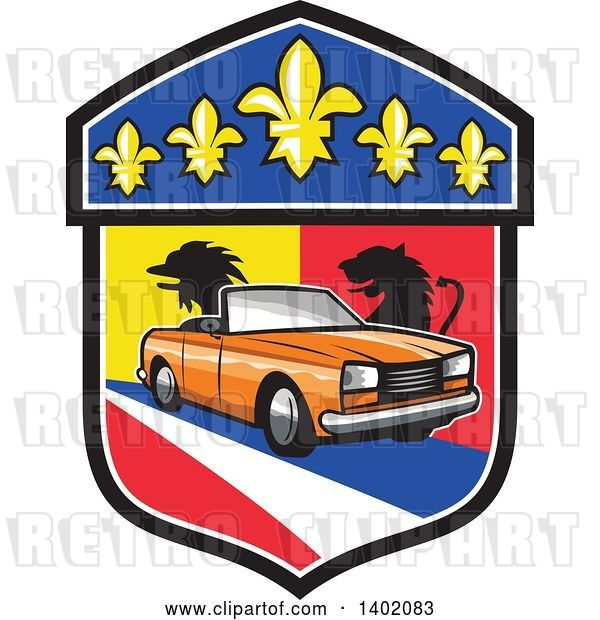 Vector Clip Art of Retro Orange Cabriolet Convertible Coupe Car French Coat of Arms Crest