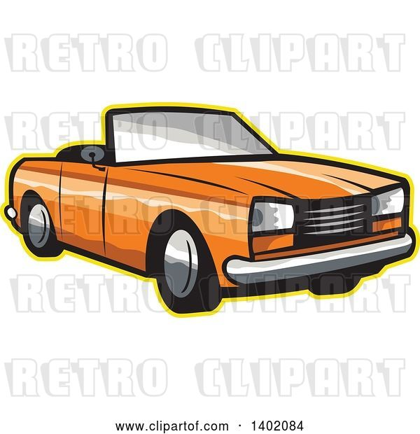 Vector Clip Art of Retro Orange Cabriolet Convertible Coupe Car with a Yellow Outline