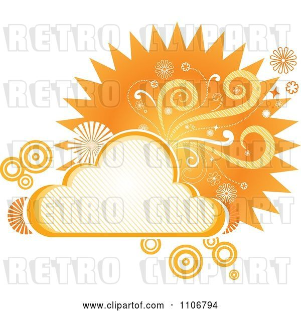 Vector Clip Art of Retro Orange Cloud Circle Floral and Burst Frame