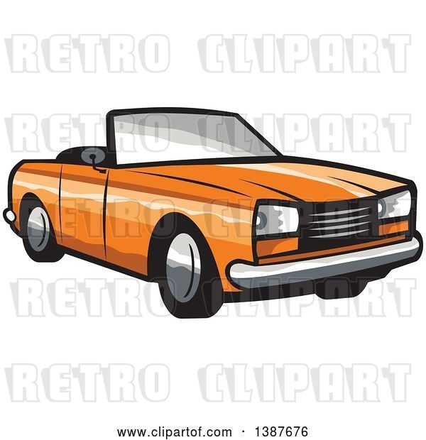 Vector Clip Art of Retro Orange Convertible Coupe Car