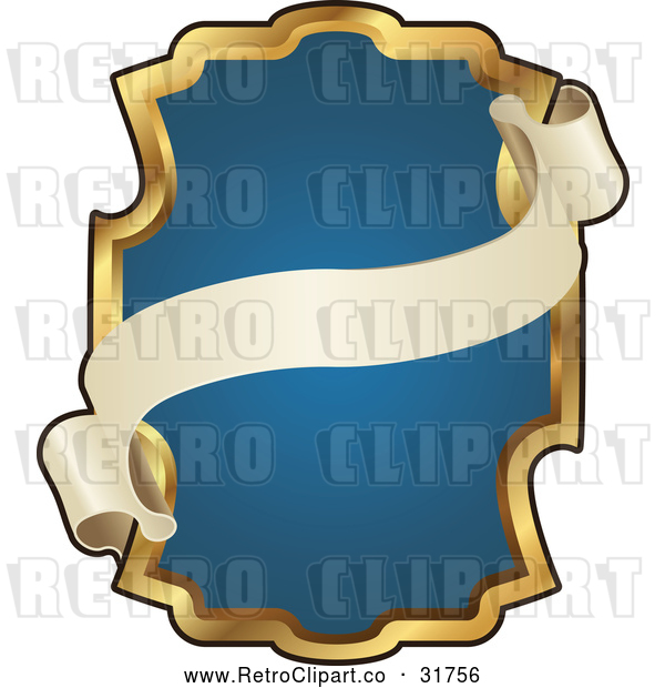 : Vector Clip Art of Retro Ornate Blue and Gold Banner Frame with Copyspace