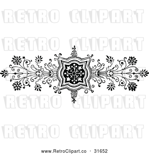 Vector Clip Art of Retro Ornate Floral Design Element 1
