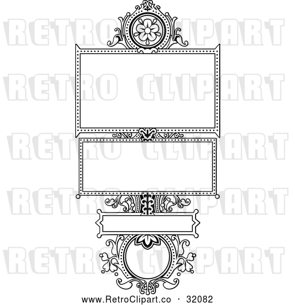 Vector Clip Art of Retro Ornate Floral Frame