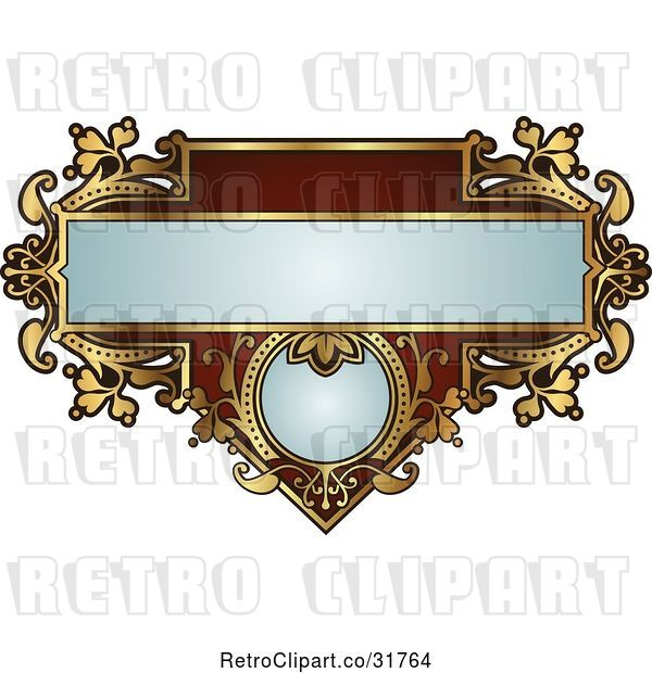 Vector Clip Art of Retro Ornate Red and Gold Frame with Copyspace