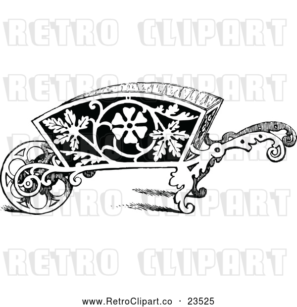 Vector Clip Art of Retro Ornate Wheelbarrow