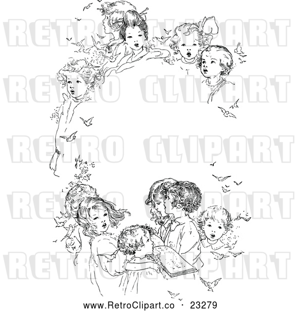 Vector Clip Art of Retro Oval Frame of Singing Children