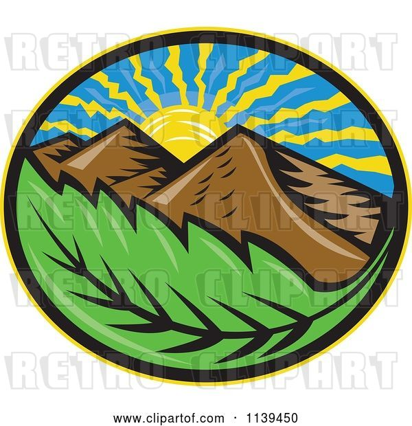 Vector Clip Art of Retro Oval of the Sun Mountains and Leaf