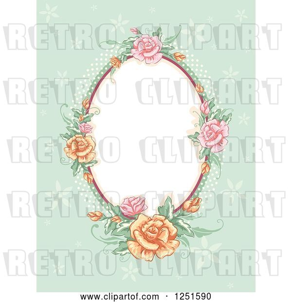 Vector Clip Art of Retro Oval Rose Frame on Green