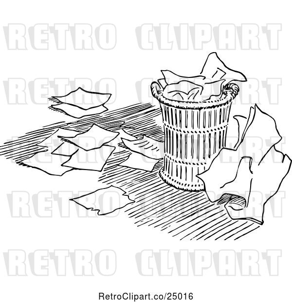 Vector Clip Art of Retro over Flowing Trash Can