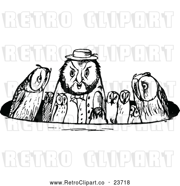 : Vector Clip Art of Retro Owl Family in a Circle