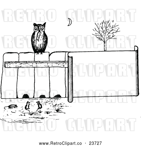 Vector Clip Art of Retro Owl on a Fence, Watching Mice