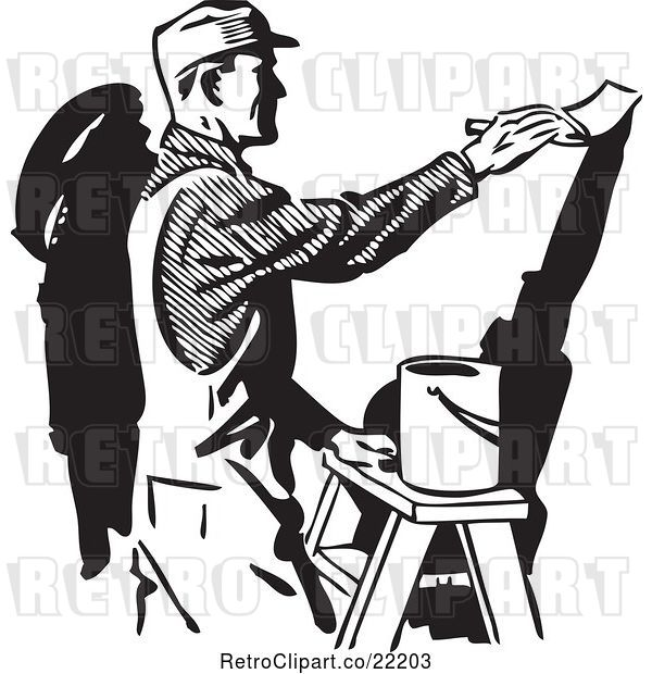Vector Clip Art of Retro Painter Painting a Wall