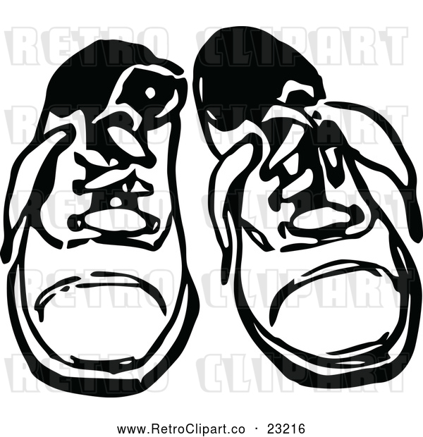 : Vector Clip Art of Retro Pair of Childrens Shoes