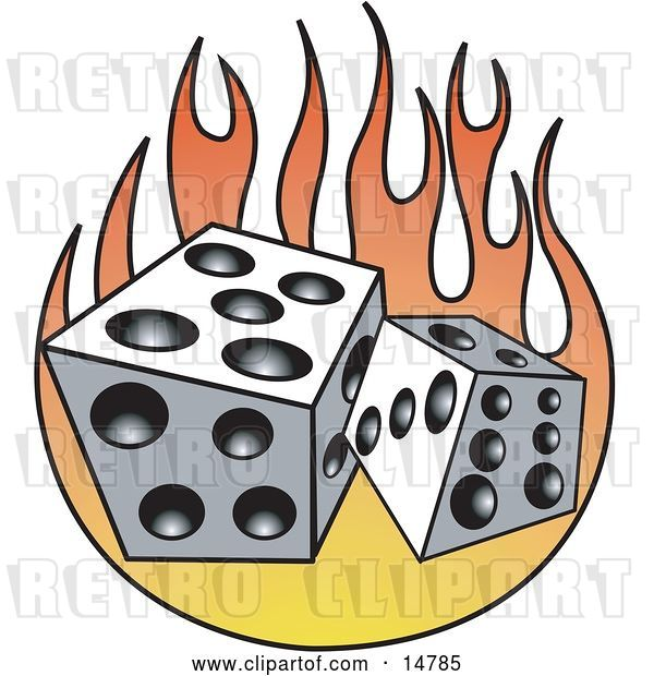 Vector Clip Art of Retro Pair of White and Black Dice and Flames