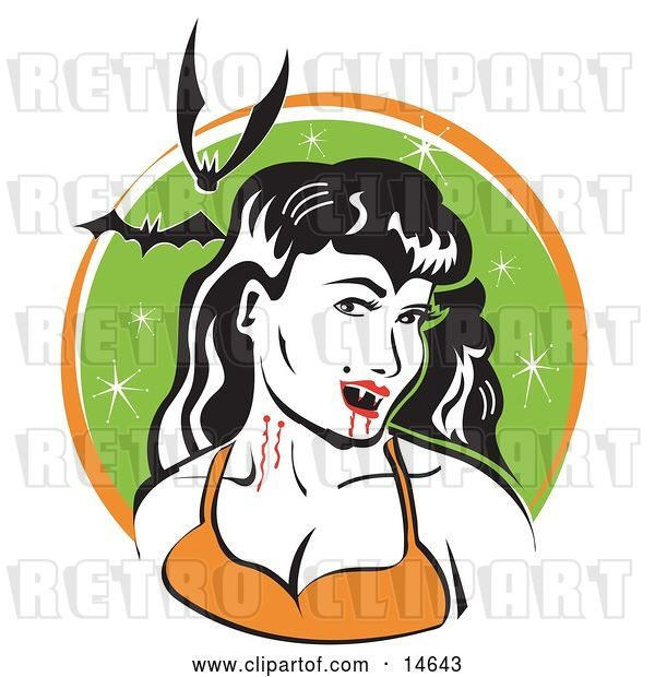 Vector Clip Art of Retro Pale, Black Haired Female Vampire with Blood Dripping off of Her Fanges and onto Her Chin, Showing the Bite Marks on Her Neck While Two Bats Fly Above