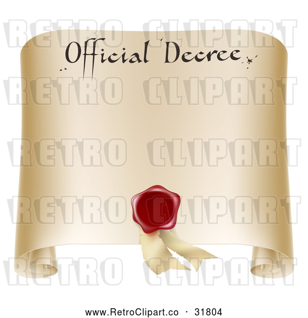 Vector Clip Art of Retro Paper Official Decree Scroll with a Red Wax Seal and Copyspace