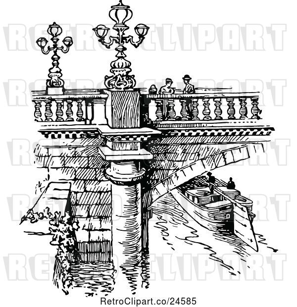 Vector Clip Art of Retro Parisian Bridge and Canal