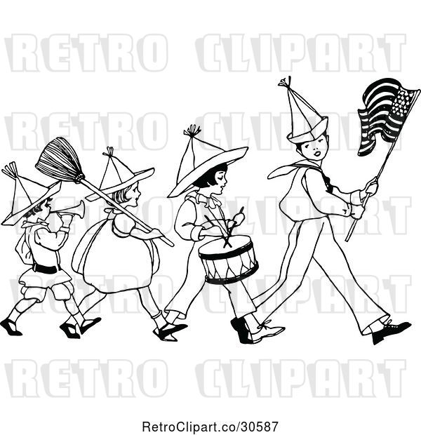 Vector Clip Art of Retro Patriotic Kid Marching Band