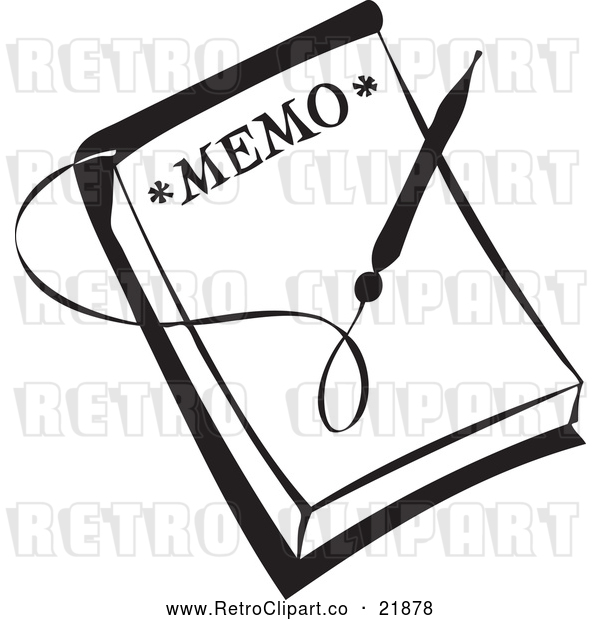Vector Clip Art of Retro Pen over a Memo
