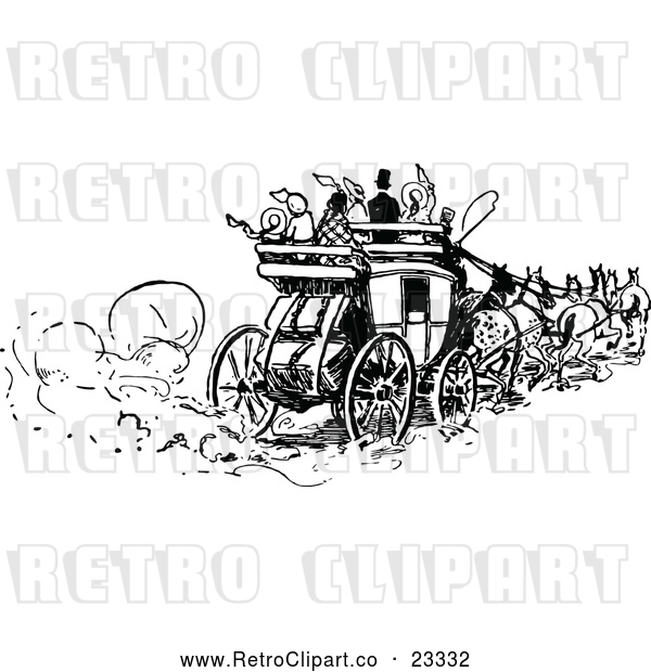 Vector Clip Art of Retro People on a Horse Drawn Carriage
