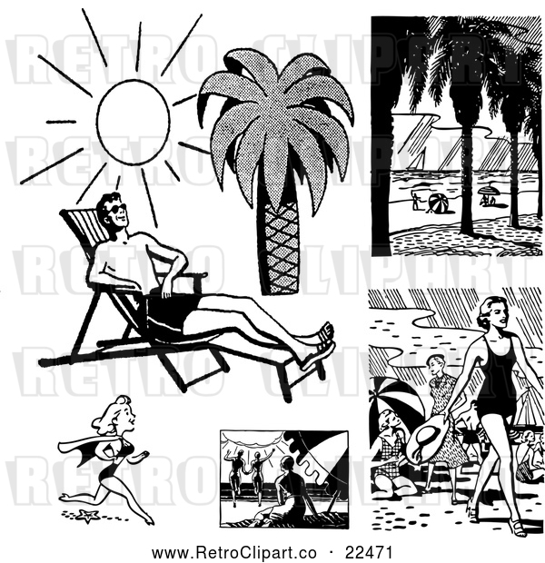 Vector Clip Art of Retro People on Beaches