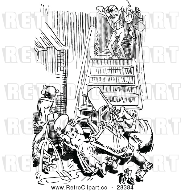 Vector Clip Art of Retro People Tumbling down Stairs