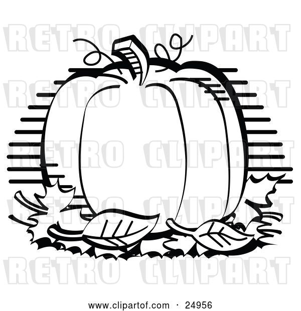 Vector Clip Art of Retro Perfectly Round Halloween or Thanksgiving Pumpkin Surrounded by Fall Leaves
