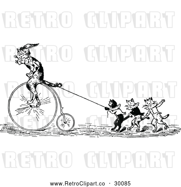 Vector Clip Art of Retro Performing Cats with a Penny Farthing