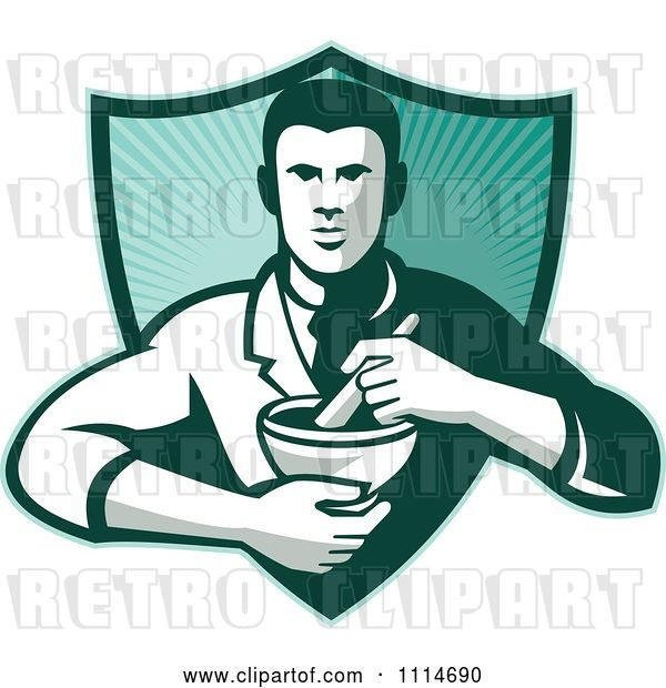 Vector Clip Art of Retro Pharmacist Holding a Mortar and Pestle over a Ray Shield