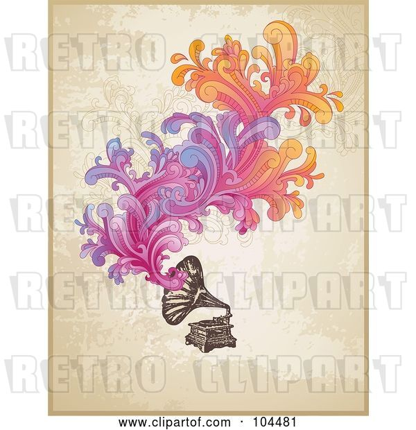 Vector Clip Art of Retro Phonograph with Colorful Swirls over Grungy Beige