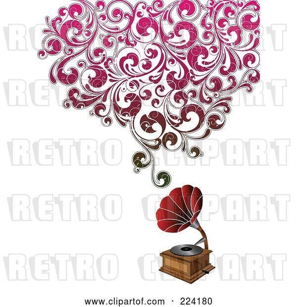 Vector Clip Art of Retro Phonograph with Floral Sound