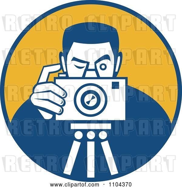 Vector Clip Art of Retro Photographer Taking a Picture over an Orange Circle