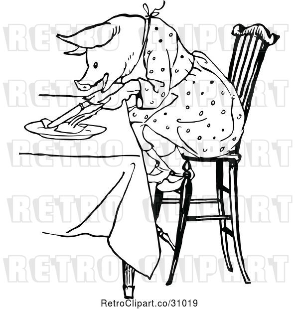 Vector Clip Art of Retro Pig Eating at a Table