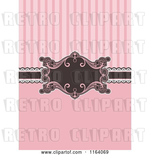 Vector Clip Art of Retro Pink and Brown Invitation with Stripes and a Frame