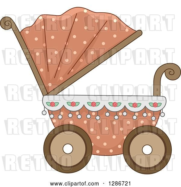 Vector Clip Art of Retro Pink and Floral Baby Carriage Pram