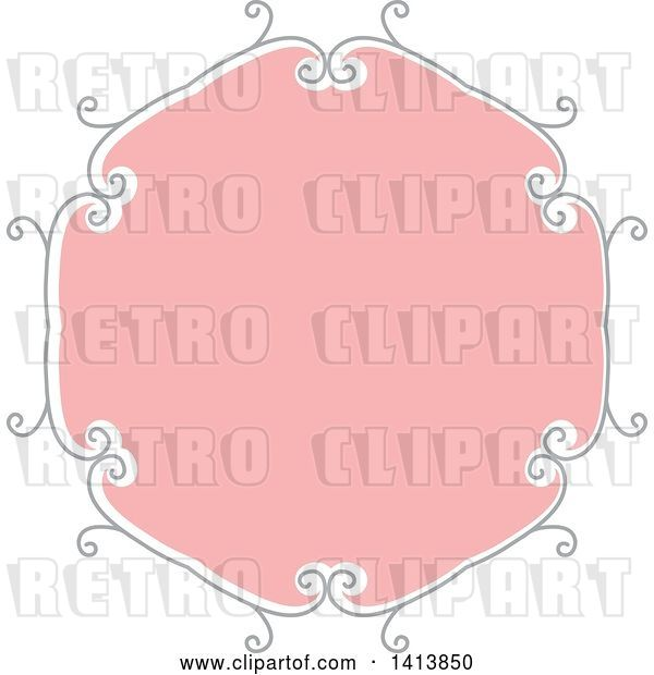 Vector Clip Art of Retro Pink and Gray Frame Design Element