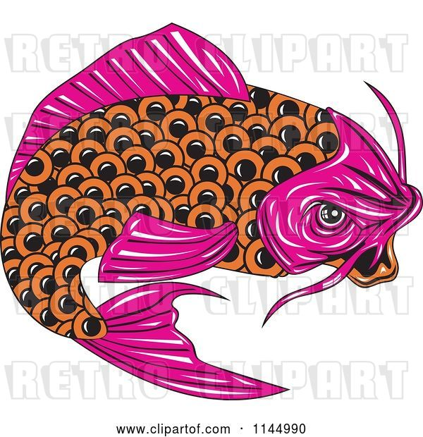 Vector Clip Art of Retro Pink and Orange Koi Fish