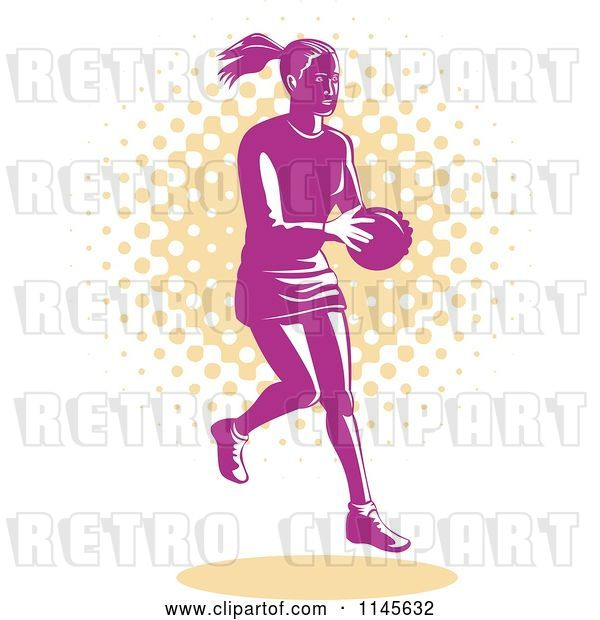 Vector Clip Art of Retro Pink Female Netball Player over Orange Dots