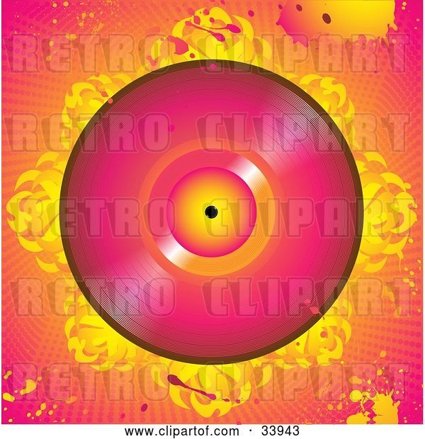 Vector Clip Art of Retro Pink Vinly Record on a Bed of Abstract Flames, over a Grunge Pink and Orange Background with Splatters and Dots