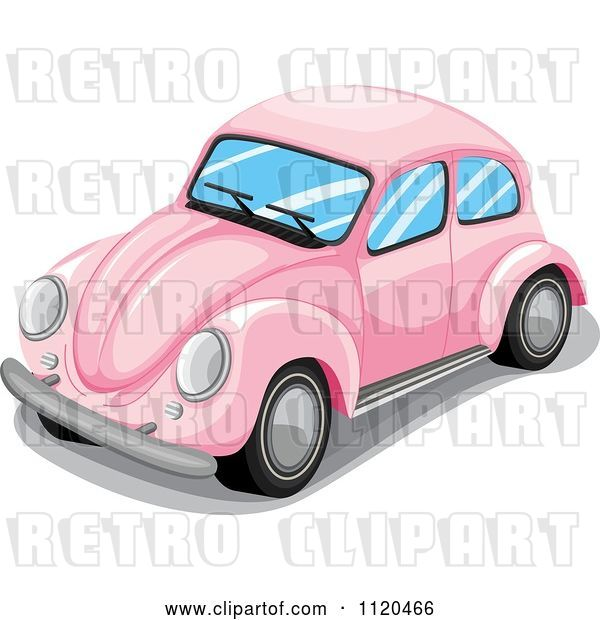 Vector Clip Art of Retro Pink VW Slug Bug Car