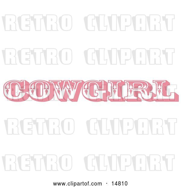 Vector Clip Art of Retro Pink Western Cowgirl Bathroom Sign