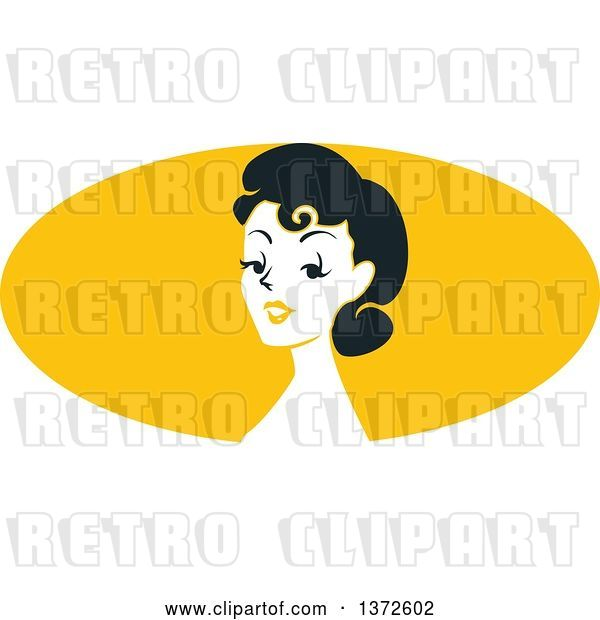 Vector Clip Art of Retro Pinup Lady from the Shoulders up over a Yellow Oval