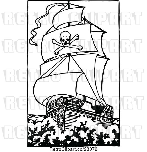 Vector Clip Art of Retro Pirate Ship 2