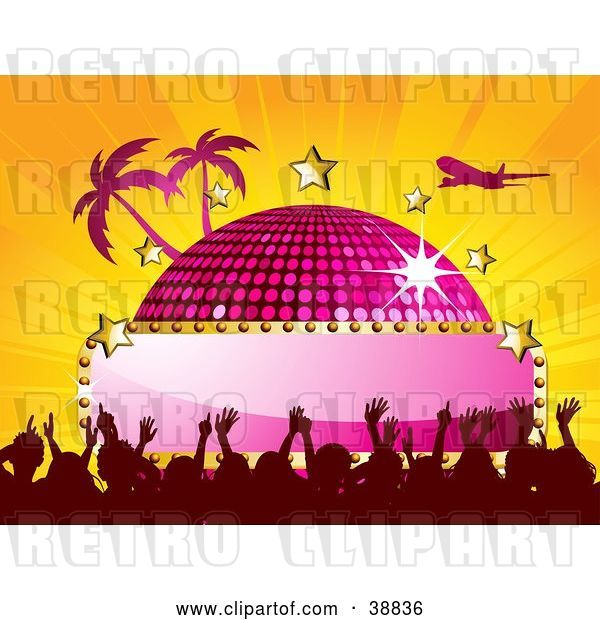 Vector Clip Art of Retro Plane Flying over a Pink Disco Ball with a Blank Sign, Stars, Palm Trees and a Crowd, on a Bursting Orange Background
