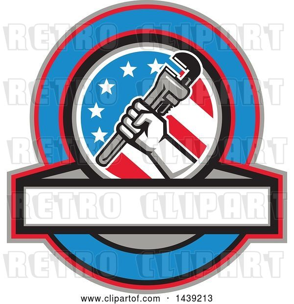 Vector Clip Art of Retro Plumber Hand Holding a Pipe Monkey Wrench in an American Circle over a Banner with Text Space